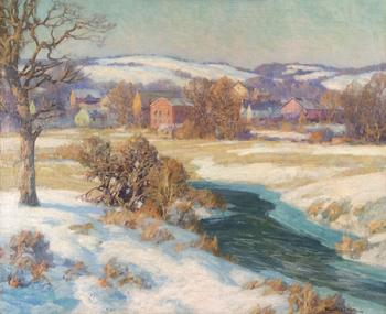"Maurice Braun ""Village Brook in Winter"" 30 x 36 inches, oil on canvas"